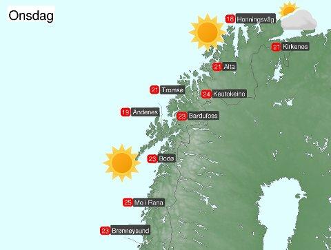 Meteorologene publiserte denne prognosen for onsdag på Twitter.
