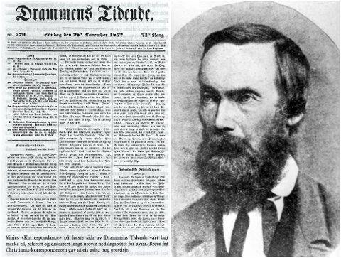 Jubileum: Forfatteren A.O. Vinje skrev for DT i 1850-årene. I forbindelse med hans 200-årsjubileum neste år, ber Nasjonalbiblioteket DTs lesere om hjelp til å finne avisutgavene med hans tekster.