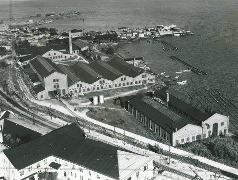 Ble byens største arbeidsplass: Bygning for bygning utvidet National Industri seg på Brakerøya. Her et bilde trolig fra 30-40-årene, som viser bygningsmassen den gang. Jernbanen gikk til venstre på bildet og Drammensfjorden skvulpet helt inn til bygningsmassen. Foto: Drammen Byarkiv