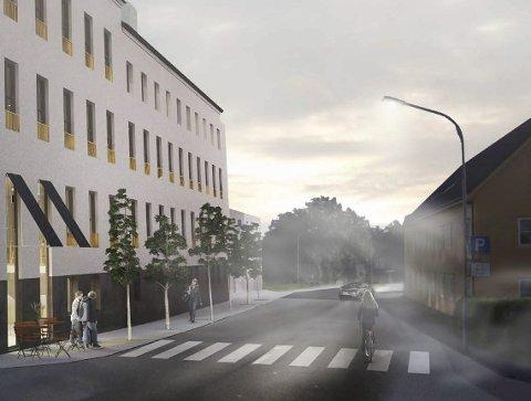 Bustader og servering: Slik ser Asplan Viak for seg at sjukehuset kan utviklast; med urbane leilegheiter og servering i første etasje. Illustrasjonar: Mulighetsstudie av Asplan Viak