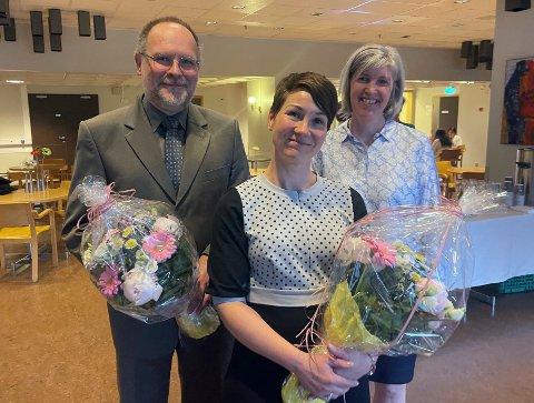 DOKTORGRAD: Etter eit omfattande prosjekt står Anja Myhre Hjelle (i midten) igjen med doktorgrad. Her er ho i lag med hovudrettleiar Pawel Mielnik og medrettleiar Ellen Apalset.