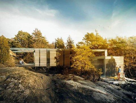 Slik har arkitekten tegnet hytta. Legg merke til dragerne mellom hyttetaket  og fjellet. Det er uenighet om disse dragerne må regnes med som en del av hyttas lengde.  Arkitekten mener det ikke bare er til å ta vekk disse dragerne.