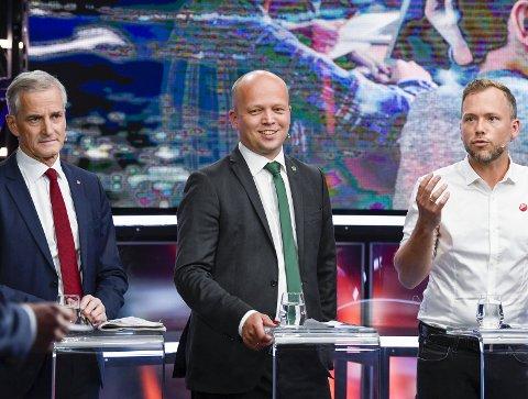 REPRISE FRA 2005?: Audun Lysbakken (t.h.) vil gjerne ha Jonas Gahr Støre (t.v.) og Trygve S. Vedum med på samme lag.