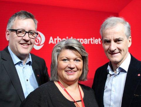 NYTT og GAMMELT: Rune Støstad, Anita Ihle Steen og Jonas G. Støre med gammel distriktspolitikk i ny versjon.Foto: AP
