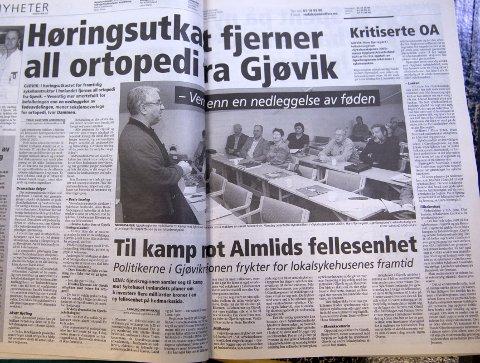 2. november 2005: Politikere i Gjøvikregionen går til frontalangrep mot et fellessykehus på Rudshøgda.