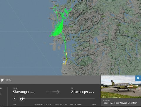 AKTIVITET: Flyet over Sveio var ikke ute på en ordinær tur-retur, som registreringen viser.