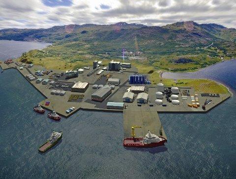 MARKOPPNES: Det nye området i Repparfjorden kan i framtiden også bli et støtteområdet for basedrift i Barentshavet. I tillegg vurderer Nussir etablering her, og er nå i dialog med kommunen. Illustrasjon: Reklamehuset