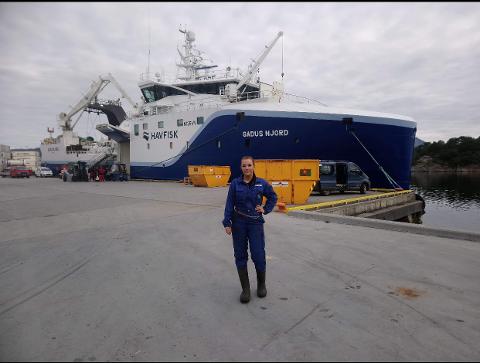 """KJEMPEJOBB: Jeanette Johansen stortrives om bord på """"Gadus Njord"""""""