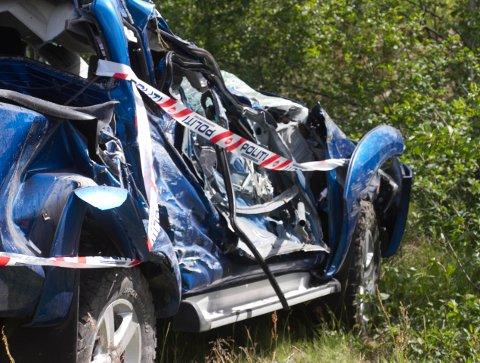 VRAK: Slik så den ene siden av bilen ut etter rundturen ved Konsmo.