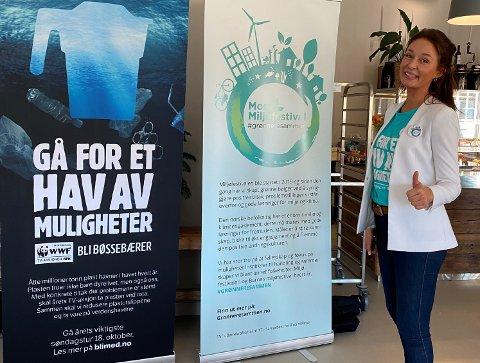 GLAD: Sjelden har tommel opp på et bilde vært mer fortjent enn her. Camilla Bache-Mathiesen i Moss Miljøfestival kontaktet Norrøna, som valgte å gi det enorme bidraget til TV-aksjonen.