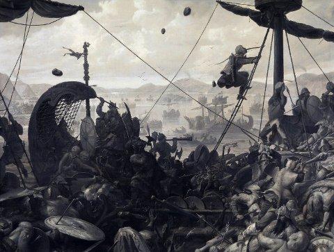 Harald Hårfagre samlet Norge til ett rike, og var uten tvil en mektig mann her til lands. Men sammenliknet med historiens mektigste viking, kan han ikke måle seg. Her er slaget ved Hafrsfjord skildret i et maleri av Ole Peter Hansen Balling fra 1870.