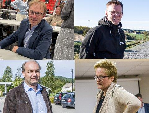 INHABILE? Det er ingen skam å være inhabil. Men det er likevel usedvanlig at fire politikere ber kollegene vurdere habiliteten i en og samme sak. Øverst til venstre og med klokka er André Lysnes, Morten Riis-Gjertsen, Olaf Holm og Turid Løsnæs. Bare Løsnæs ble erklært habil av kollegene. De andre tre måtte følge Sika-saken fra sidelinjen.