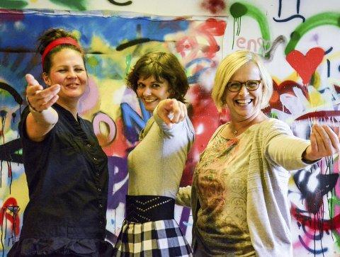 Nytt tilbud: – Hiv deg ut i det, det er da det er morsomst, sier Ida Svemo Hiller, Darya Katyba og Marit Osmo fra Rana Kulturskole. Foto: Kristian Rødvand