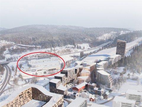 VOKSER: Slik ser vinterparkprosjektet ut på tegnebrettet, med skihall, næringsbygg og boliger. Nå er det klart at Skeidar-bygget på nabotomta også blir en del av prosjektet. Illustrasjon: Reiulf Ramstad Arkitekter AS