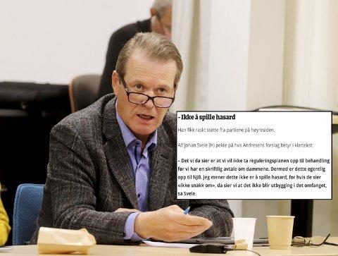 SKAPTE REAKSJONER: NJB-leder Anders Sletten reagerte på denne uttalelsen fra Alf Johan Svele (avbildet) i kommunestyret. – Jeg står for det jeg sa, sier Svele.