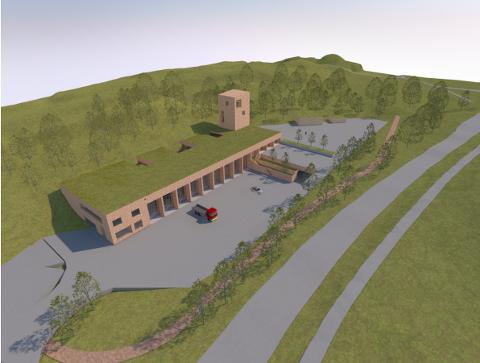 NY BRANNSTASJON: Dette er de foreløpige skissene for ny brannstasjon i Grasmyrbakken.