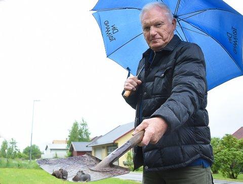 PÅ'N IGJEN: Svein Susrud hadde fullt opp med å drepe og plukke snegler i fjor sommer. Nå må han i gang igjen. (Arkivbilde)
