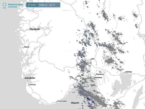 Årets første tordenvær ga flere lynnedslag på Østlandet.