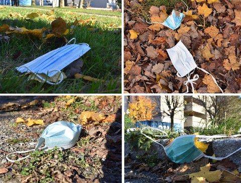 Munnbindene fløt utenfor Drammen sykehus fredag ettermiddag.