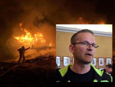 Fredrik Helgesen er tillitsvalgt for de ansatte i Nordkapp Brann - og Redning. Han frykter for fremtidig rekruttering slik Nordkapp brannvesen er organisert i dag.