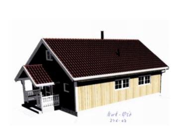 Tegning: Slik er den nye hytta tenkt å bli seende ut, med en mønehøyde 44 centimeter over det den bør ha.
