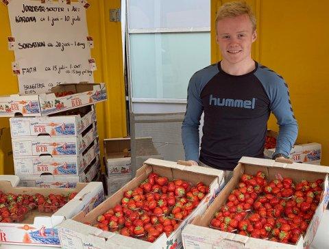 SPANNAVEGEN: Anbjørn (19) selger jordbær for Jelsa Jordbær i sommer.