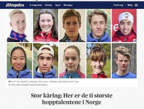 10 PÅ TOPP: Eirin Kvandal (midten nederste rekke) fra Mosjøen er regnet som et av de ti største talentene i hoppbakken.   FOTO: Skjermdump fra Aftenposten