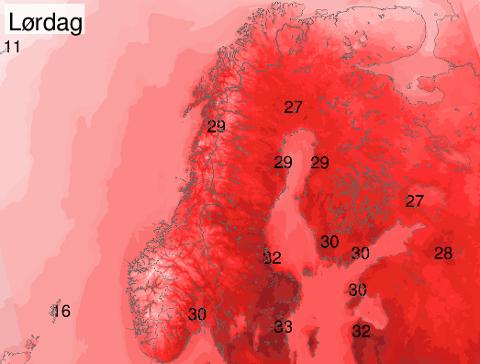 GODT OG VARMT: Slik ser prognosene for helgen ut. Vi får det godt og varmt.