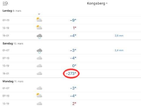 EKSTREMKULDE: På Yr sine nettsider ble det meldt 273 minusgrader i Kongsberg neste søndag.