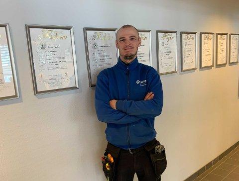 Kristian Elfstedt er tillitsvalgt i i Protan Entreprenør Midt-Norge, og er godt fornøyd med rekordomsetningen.