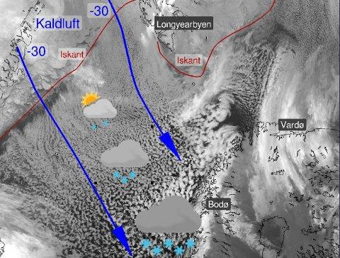 SNØBYGER: Når kaldluften fra Arktis kommer ut over havet begynner snøbygene å vokse seg store. Jo nærmere Norge de kommer jo kraftigere blir de, melder Meteorologisk institutt.