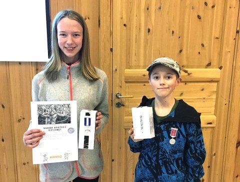 FEILFRI SKYTING: Kine Saksæther Andersen vant rekruttklassen med feilfri skyting. Hun tok også gull i lag med Degernes sammen med blant andre Joakim Grambo Tangen (til høyre). BEGGE FOTO: PRIVAT