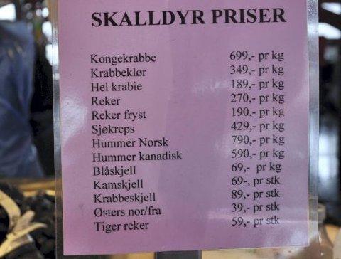 Dette er hva Fjellskål selger på Torget. Prisene ligger på samme nivå hos alle torghandlerne.