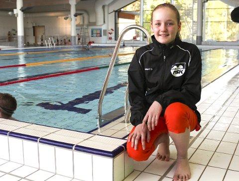 Eline Myklebusthaug (12) trives enormt med sporten, og gleder seg til å konkurrere i Junior- NM neste år.