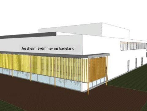 Idrettsrådets skisse: Idrettsrådet har utarbeidet en skisse for svømmeanlegget, som de ønsker bygd på Gystadmarka.