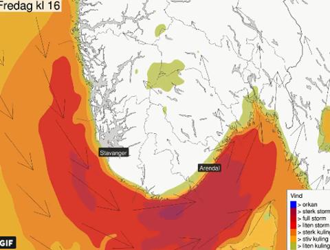 UVÆR. Fredag får Rogaland, Sørlandet og Østlandet kjenne på værkreftene. (Meteorologene/Faksimile)