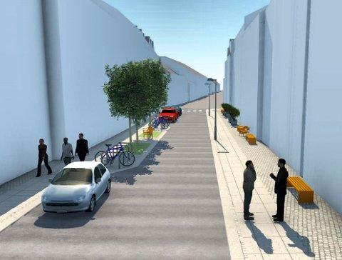 OPPGRADERING: T.v. ses den sørlige delen av Kongens gate, som blir en kombinasjon av beplantning, parkeringslommer og serveringsareal. T.h. blir det primært uteareal for butikker og serveringssteder. (Illustrasjon: Asplan Viak)