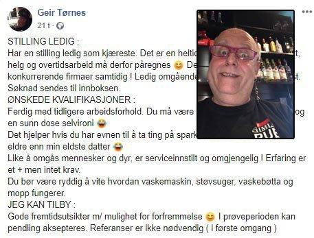 STILLING LEDIG: Geir har flere ønskede kvalifikasjoner til drømmedama.