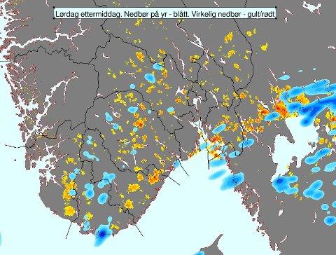BOMMET LITT...: Dessverre ikke helt riktig plassering av regnbyger på yr i ettermiddag for området #østafjells. Håper på bedre treff i morgen, skriver Meteorologene på Twitter.