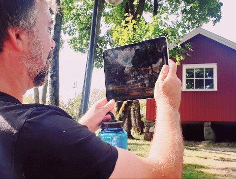 """MUNCH-APP: Du må befinne deg fysisk i hagen ved Munchs hus for å kunne benytte deg av appen """"Munchs digitale hage""""."""