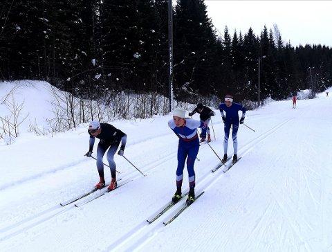 TØFFE DRAG: Niklas Dyrhaug (i front) sammen med Johannes Sivertsen Leirådal IL, Niklas Landsem Melhus Steinkjer Skiklubb, Lars Bragstad Rannem Inderøy IL i løypene ved Steinkjer skistadion.