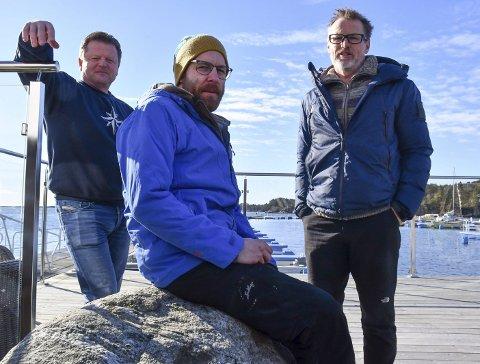 Frode Hansen, Sven Voelzke og Calle Børresen står bak restaurantplanene på Hagefjordbrygga. Foto: Olav Loftesnes/Arkiv