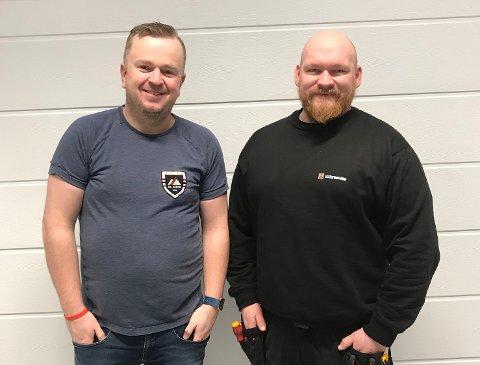 Glad: Daglig leder i Enter Service AS Jøran Nohr, sammen med nyansatt montør på Sortland,  Ørjan Fagereng.