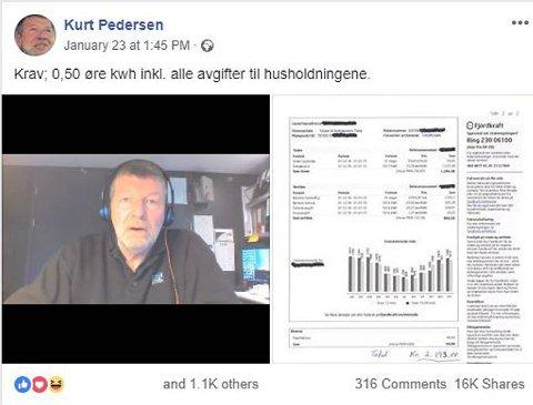 Kurt Pedersens innlegg på Facebook var delt nesten 17.000 ganger rundt klokken fem mandag ettermiddag.