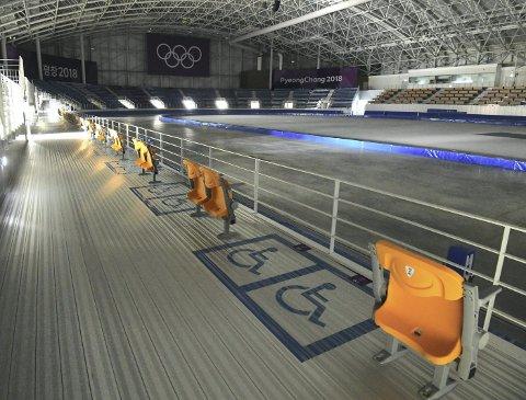 Ifølge skøytesider på nettet har det ikke vært skøyteløp i Gangneung Oval etter fjorårets vinter-OL. – De kan fly hallen til Bergen, så kan vi overta den, sier Sindre Henriksen når han får høre hvor lite aktivitet det har vært i hallen etter OL. (Foto: NTB scanpix)