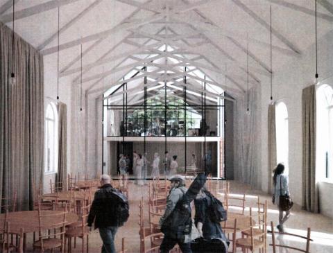 """Egersunds Mandssangforening ser for seg at Sangerlosjen skal bli """"en kulturarena for hele byen"""". Illustrasjonen er laget av Vidvei&William Arkitekter AS og vedlagt klagen fra sangerne. Den viser hvordan bygget kan bli seende ut i framtida, blant annet med utstrakt bruk av glass."""