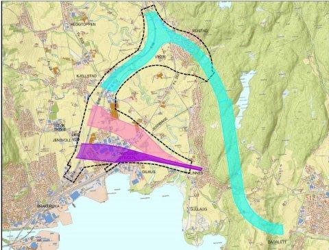 Her er de ulike alternativene for ny vei fra Dagslett til Linnes på E134. Det turkise veivalget er Vikeralternativet.