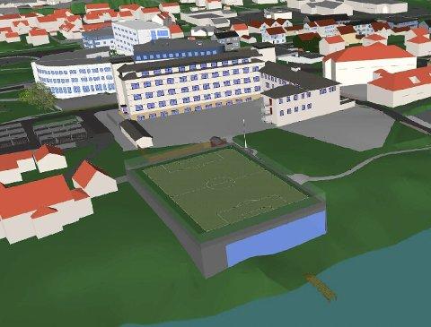 FLEIRBRUKSHALL: Mange løysingar er lansert for gymfasilitetar for Florø barneskole. MDG meiner den bør byggast mellom prestegarden og skulen, delvis på kyrkja sin eigedom. Illustrasjon: MDG