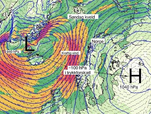 FULL STORM: Det skal blåse kraftig både søndag og måndag, melder meteorologen.