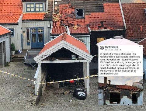 Facebook-innlegget til Siw Svensen (innfelt) vekket givergleden til mange gjesdalbuer. Ifølge initiativtakeren er familien veldig takknemlig for all hjelp etter at huset deres brant lørdag kveld.